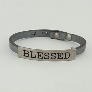 "Jewelry - Inspired  Leather band ""BLESSED"""